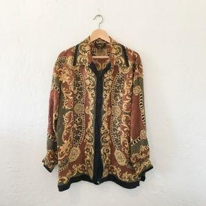 Vintage 80's Jaguar Animal Print Silk Blouse